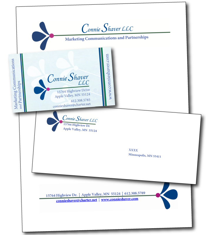 Connie Shaver LLC business card, letterhead, and envolope design
